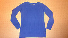 Crew Clothing Violet Blue Indigo Cable Knit Jumper Sweater TOP 8 ( 10 12 cotton
