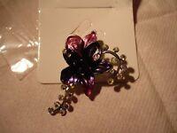 pretty pink/purple flower brooch