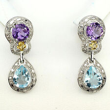 DELUXE NATURAL GEM PURPLE AMETHYST,YELLOW CITRINE,BLUE TOPAZ 925 SILVER EARRINGS