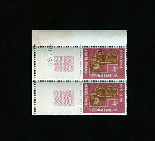 1966 RVN South Vietnam 2 Stamps Traditional Music 4d MNH Color Tag Print Number
