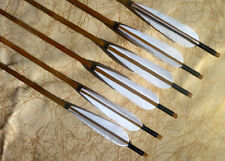 6pcs Black Head Handmade ARROW Bamboo Shaft White Feathers For Archery Practice