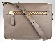 Tom Ford Buckley Leather Messenger Shoulder Bag Gray Brown 14BG0102 $3080