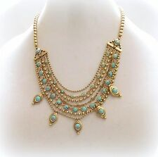 $55 NWT LUCKY BRAND Turquoise Charm Multi Layer Statement Necklace Gold Tone