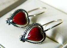 Nuevas señoras plata esterlina Rojo Ágata Corazón Pendientes de alambre francés con marquesitas