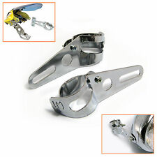Universal Chrome Fork Mount Headlight Brackets Motorcycle Motorbike Bike Project