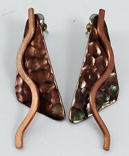 2 PAIR LOT ARTISAN CRAFTED HAMMERED BRASS COPPER LONG EARRINGS 80s NEW OLD STOCK