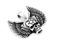 Pendentif biker acier 316L collier crane et ailes skull on wings biker pendant
