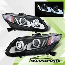 [LED U Bar] 2012 2013 2014 2015 Honda Civic 2/4Dr Projector Black Headlights Set