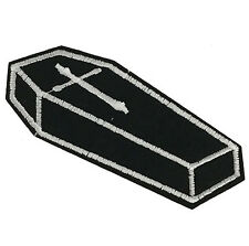 """Black Gothic Coffin w Cross Patch Embroidered Patch 4.3"""" DIY Iron on Punk Goth"""