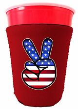 American Flag Peace Sign Neoprene Solo Cup Coolie, 4th of July