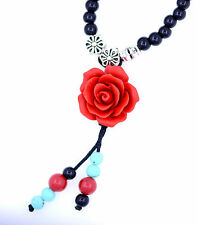 Red Lacquer Rose stretch bracelet / necklace with black and turquoise bead