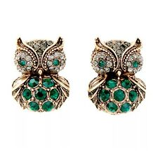 EMERALD GREEN FIGURAL OWL BIRD Couture Designer Crystal Rhinestone Gold Earrings