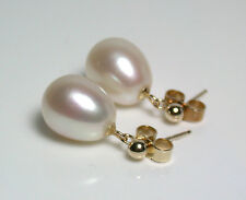9x11.5mm AAA quality white freshwater pearl & 9 carat gold earrings