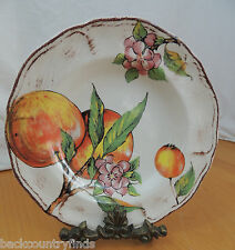 2 Sur la Table Pasta Bowls White With Burgundy Accent Peaches & Flowers Italy