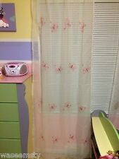 Pink Embroidered Butterfly Sheer Tap Top Window Curtain Drapes Girl Room Decor