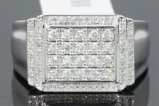 10K WHITE GOLD .62 CARAT MENS REAL DIAMOND ENGAGEMENT WEDDING PINKY RING BAND