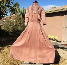 Edwardian Era Evening Dress Rosy Brown Pleats Tucks Lace Bows Tiered Sleeves
