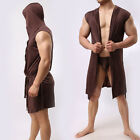 Men Bathrobe Pajamas Sexy Hooded Sleeveless Robe Sleepwear Nightshirt