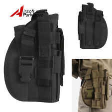 Right Hand Tactical Molle Belt Pistol Holster Gun Pouch Hunting Paintball Black