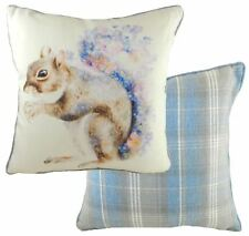 Red Squirrel Floral Tartan Check Evans Lichfield Blue Cream Cushion Cover 17""