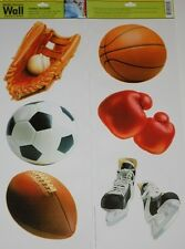 SPORTS wall stickers 7 decals Baseball Soccer Football Hockey Boxing scrapbook