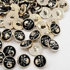 20pcs Acrylic Enamel 1-Hole Flat Round Pirate  Skull Sewing Shank Buttons Craft