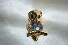Owl Pin Brooch Gold Faceted Clear Crystals Bird Hoot Barn Free Shipping