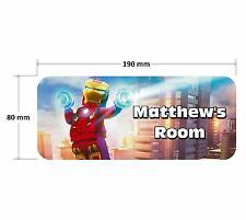 Lego Iron Man Personalised Childrens Bedroom Door Plaque Sign Boys Girls