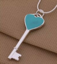 925 Sterling Silver Plated Blue Heart Tag Love Key Lock Pendant Necklace Gift