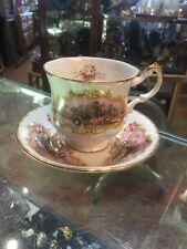 Vintage Paragon Bone China English Pink Chippendale Pedestal Cup And Saucer Set