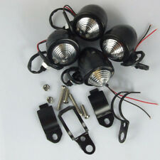 4x Motorcycle Black Turn Signal Light Panhead Fork For Bobber Chopper Cafe Race