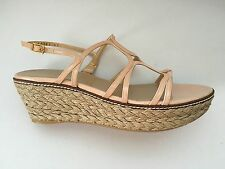 Stuart Weitzman Blush Patent Leather Strappy Espadrille Shoes Wedge Sandals 10