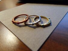 Tri- Colored Stack-able Gemstone Rings Size 7.75