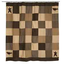 KETTLE GROVE BLACK CREAM GRAY PATCHWORK COUNTRY PRIMITIVE RUSTIC SHOWER CURTAIN