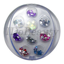 NAIL ART ASSORTED COLOR GEMS HEARTS STARS CRAFT NAILS 1mm to 3mm SIZE