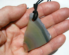 GREEN BANDED AGATE GEODE SLICE GEMSTONE LARGE PENDANT ON BLACK NECKLACE CORD