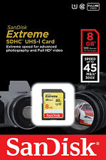 Sandisk 8G Extreme full HD SD card for Sony DSC W800 W810 W830 WX220 WX350