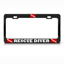RESCUE DIVER License Plate Frame Heavy Metal LOVE SCUBA DIVING BLACK Tag Border