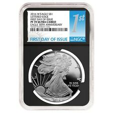 2016-W 1 oz Proof Silver American Eagle NGC PF 70 UCAM First Day of Issue - 30th