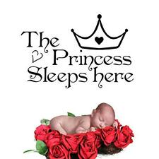 The Princess Sleeps Here Quote Wall Sticker Bedroom Decals Kid Girl Room Decor S
