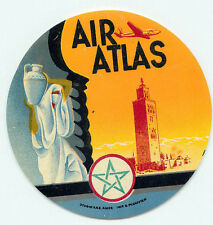 MOROCCO AIR ATLAS OLD AVIATION LUGGAGE BAGGAGE LABEL