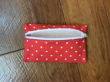 Handmade Earphone Earbud Zipped Case Pouch - Cath Kidston Mini Dot Red Fabric