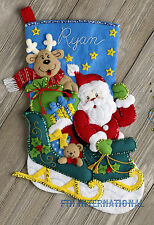 "Bucilla Santa's Helper ~ 18"" Felt Christmas Stocking Kit #86706 Reindeer, Sleigh"