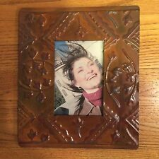 "Vintage Antique Tin Ceiling Picture Frame Rust 4"" X 6"" Opening"