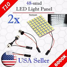2 X Car Festoon T10 BA9S White LED 48SMD Panel Interior Dome Map Light Bulb Lamp