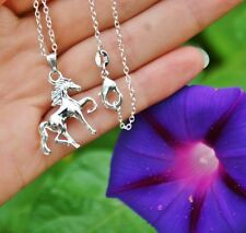 .925 Sterling Silver NECKLACE Trotting Prancing Horse Pendant Pony Lover Gift