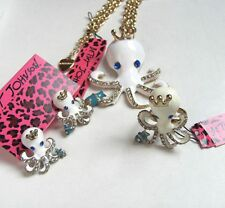 Betsey Johnson crystal White enamel octopus Necklace Ring earring set#033T