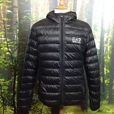 EA7 EMPORIO ARMANI MENS UK L BUBBLE HOODED DOWN PUFFER JACKET PUFFA COAT