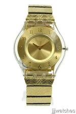 New Swatch Skin Warm Glow Gold Tone Women Dress Watch 35mm SFK355G $125