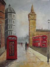 Dipinto Quadro Londra Paesaggio City Olio Su Tela Grande Inglese Moderno
